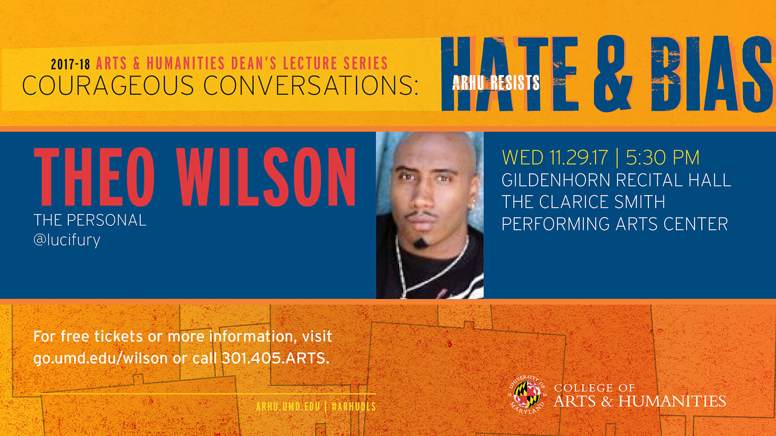 annual Arts & Humanities Dean's Lecture Series with award-winning slam poet and social justice activist Theo Wilson