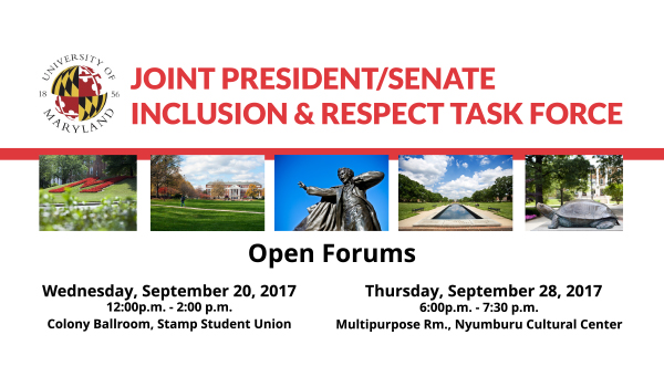 Open Forums for the Joint President/Senate Inclusion and Respect Task Force