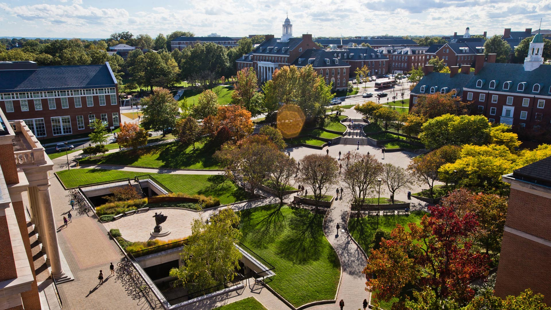 Aerial View of Hornbake Plaza during Autumn